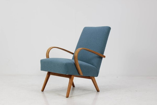 Bentwood Lounge Chair With Blue Fabric From TON, 1960s 1