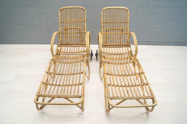 Set Da Giardino In Bamboo.Sedie Da Giardino In Vimini E Bamboo Anni 50 Set Di 2 In Vendita