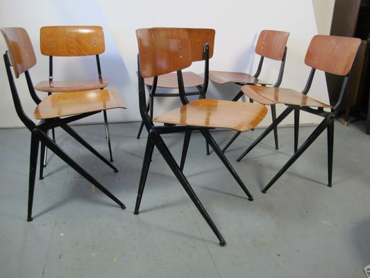 Mid Century Industrial Steel And Wood Chairs From Marko, Set Of 6 1