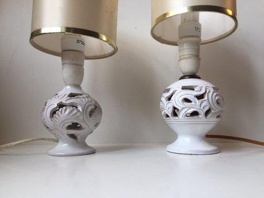 Lampade da tavolo vintage in ceramica traforate di michael