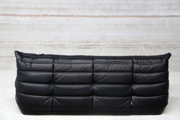 Black Leather Couches Throughout Vintage Threeseater Togo Black Leather Sofa By Michel Ducaroy For Ligne Roset