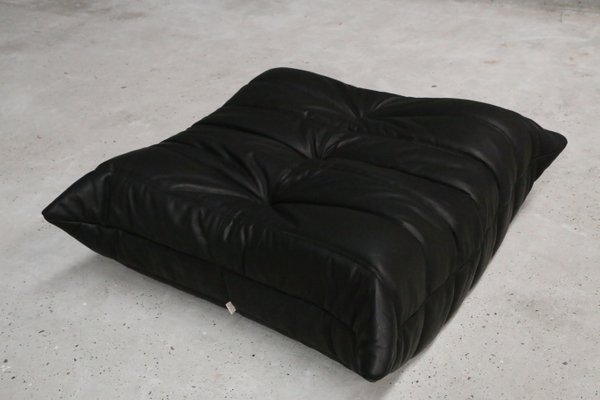 Vintage One Seater Togo Black Leather Sofa U0026 Ottoman By Michel Ducaroy For  Ligne Roset