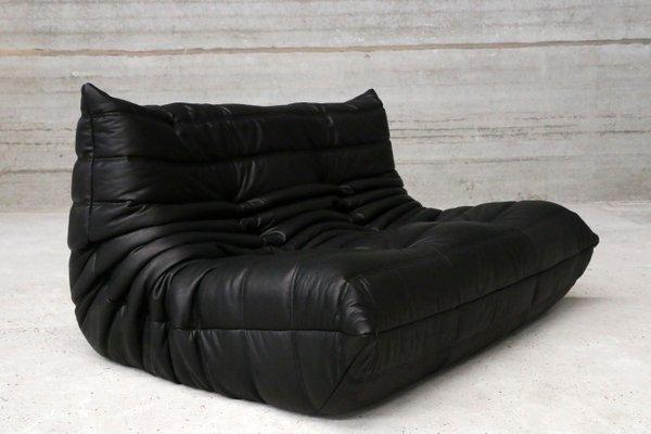 canap deux places togo vintage en cuir noir par michel ducaroy pour ligne roset 2 - Ligne Roset Canape