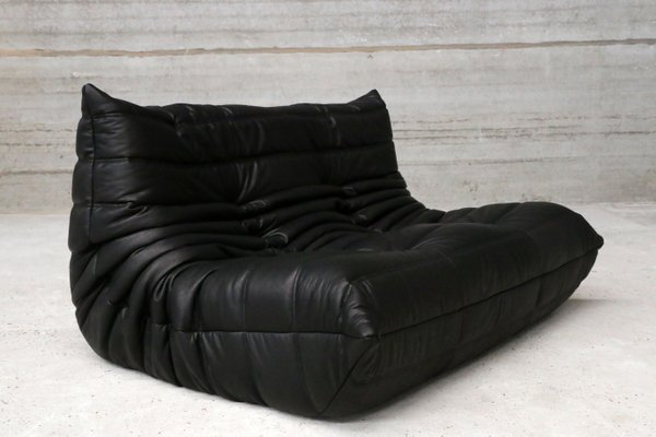 Vintage Two-Seater Togo Black Leather Sofa by Michel Ducaroy for Ligne Roset