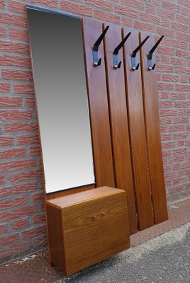 Mid Century Wall Mounted Coat Rack With Mirror For Sale At Pamono