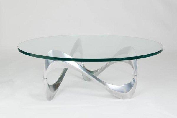 Aluminium Glas Couchtisch Mit Geschwungenem Gestell Von Knut