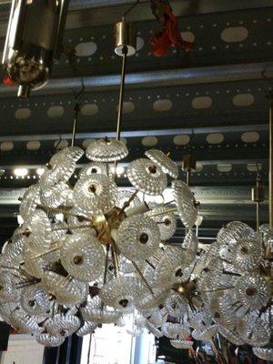 Große Messing & Glas Sputnik Lampen, 1960, 3er Set