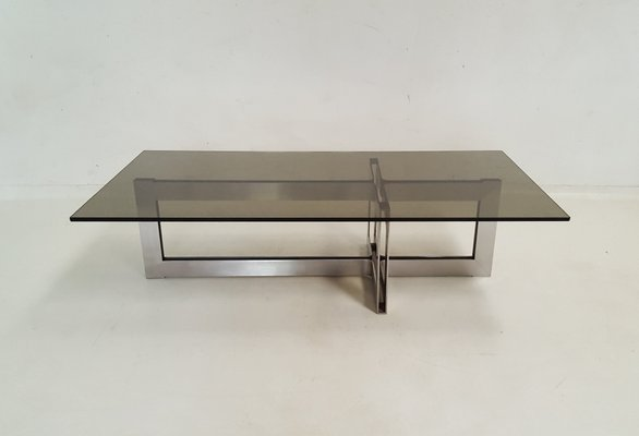 Stainless Steel And Gl Coffee Table 1970s