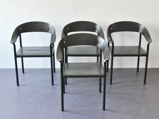 Vintage Black Leather Black Lacquered Metal Dining Chairs Set Of