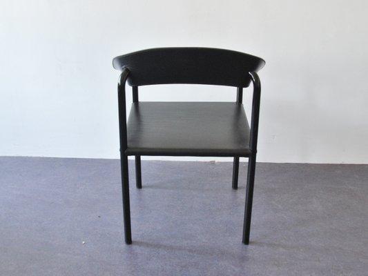 Sedie da pranzo vintage in pelle nera e metallo laccato nero set