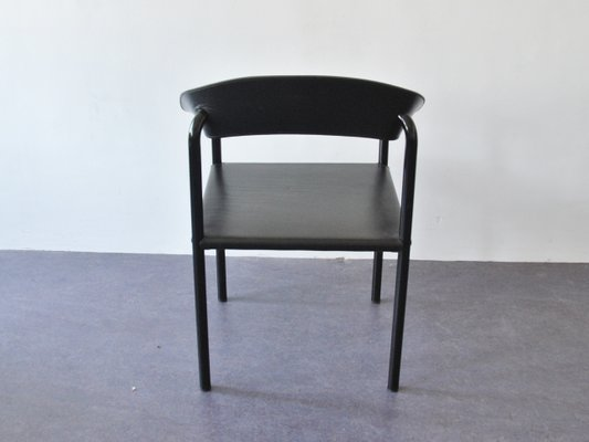 Pleasing Vintage Black Leather Black Lacquered Metal Dining Chairs Set Of 4 Alphanode Cool Chair Designs And Ideas Alphanodeonline