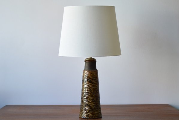 Tall Danish Ceramic Table Lamp With Amber Glaze By Nils Kähler For HAK,  1960s 1