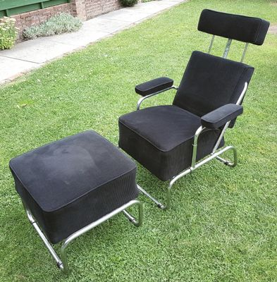 Vintage Reclining Lounge Chair With Ottoman 1