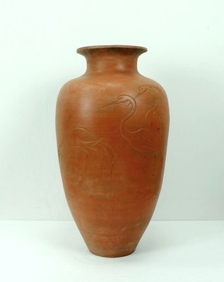 Large Ceramic Floor Vase With Heron Motif 1950s For Sale At Pamono