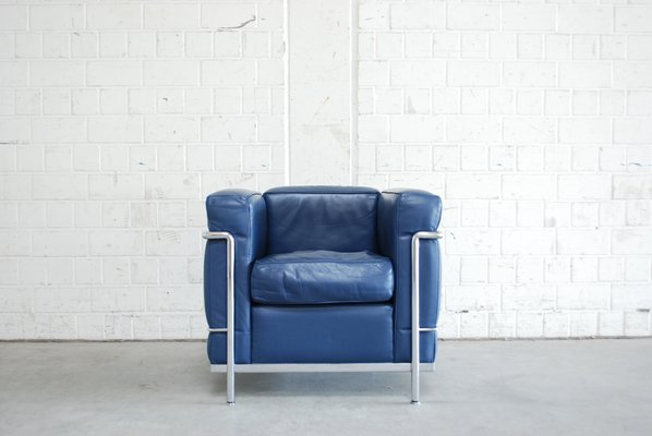 Vintage Blue Model LC2 Leather Chair by Le Corbusier for Cassina for ...