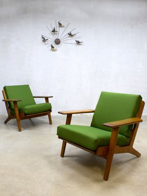 Mid Century Ge290 Lounge Armchairs By Hans Wegner For Getama, Set Of 2 1
