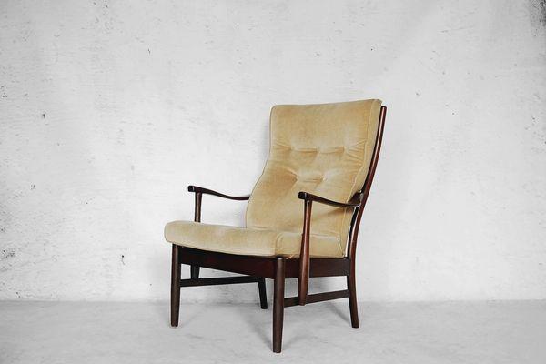 Danish Yellow High Back Chair 1960s 1