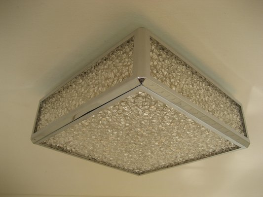 Vintage Ceiling Lamp With Plastic Sheets In Chrome Frame 1
