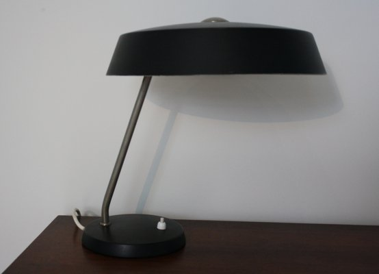 Lampe de bureau noire vintage par louis kalff pour philips 1960s en