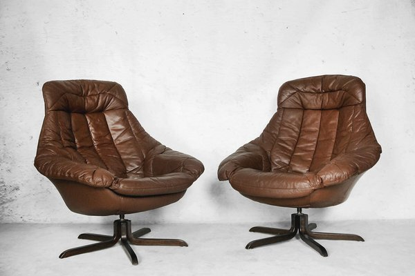 Merveilleux Danish Leather Chair By H. W. Klein For Bramin, 1960s, Set Of 2 1