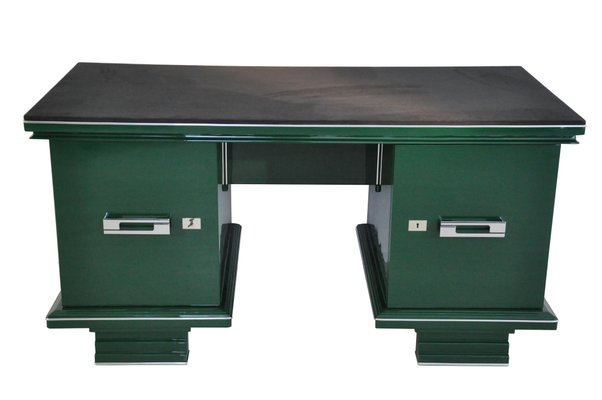 Scrivania Paint Your Life.Vintage Jaguar Racing Green Art Deco Desk