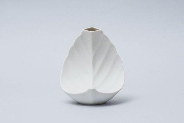 Vintage Leaf Shaped Solifleur Bisque Vase from Tirschenreuth