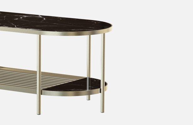 Table Basse Touche En Plaque Laiton Avec Plateau En Marbre Noir Par Alex Baser Pour Miist