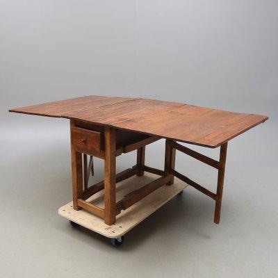 Antique Swedish Drop Leaf Oak Table