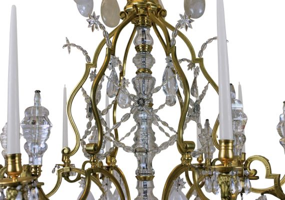Large Antique Louis XIV Gilt Bronze & Rock Crystal Chandelier 2 - Large Antique Louis XIV Gilt Bronze & Rock Crystal Chandelier For