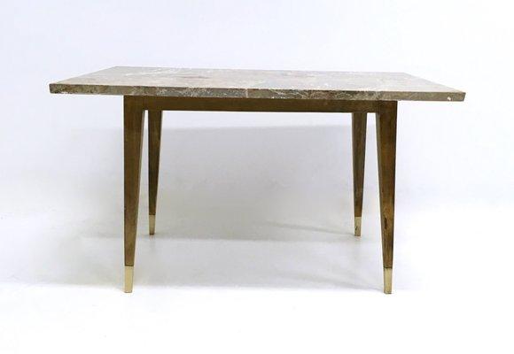 Table Basse En Hetre Avec Plateau En Marbre Italie 1950s