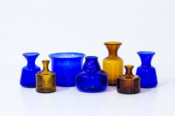 Swedish Glass Vases By Erik Hglund For Boda 1950s Set Of 7 For