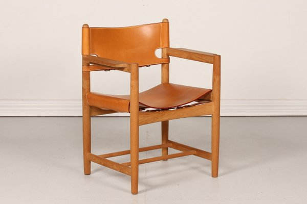 Danish Leather and Oak 3238 Chair by Børge Mogensen for Fredericia Furniture 1970s 1 & Danish Leather and Oak 3238 Chair by Børge Mogensen for Fredericia ...