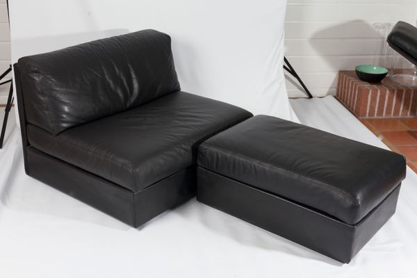 Black Leather Sectional Sofa, 1980s 2