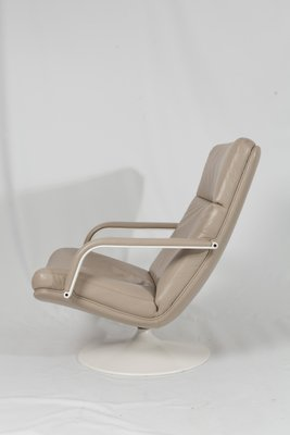 Excellent F156 Beige Leather Easy Chair With Ottoman By Geoffrey Harcourt For Artifort 1963 Short Links Chair Design For Home Short Linksinfo