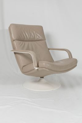 Miraculous F156 Beige Leather Easy Chair With Ottoman By Geoffrey Harcourt For Artifort 1963 Short Links Chair Design For Home Short Linksinfo