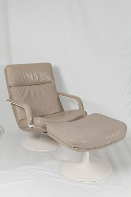 Sensational F156 Beige Leather Easy Chair With Ottoman By Geoffrey Harcourt For Artifort 1963 Short Links Chair Design For Home Short Linksinfo