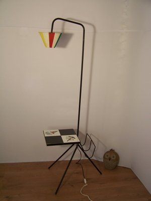 Vintage Floor Lamp With Magazine Holder Table For Sale At Pamono