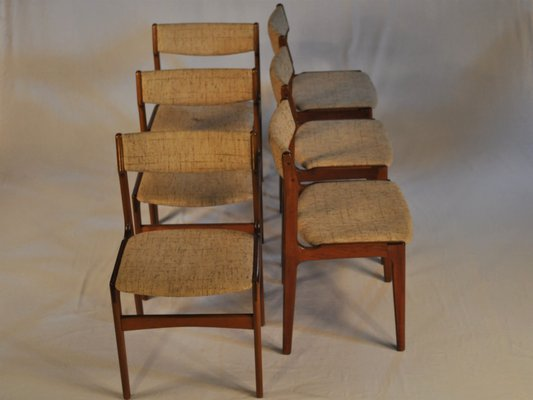 Teak Fabric Dining Chairs By Erik Buch 1960s Set Of