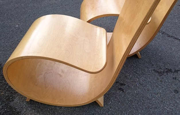 High Back Coiled Laminated Birch Plywood Chairs from Villiers Brothers,  1990s, Set of 2