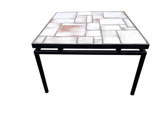 Mid Century White And Beige Ceramic Coffee Table On Painted Metal