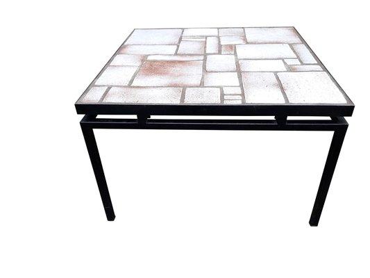 Mid Beige Structure Et Peint1960s Sur Basse En Table Blanche Céramique Métal Century j5R3AL4