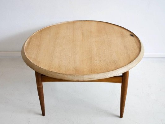 Mid Century Round Oak Coffee Table By