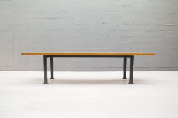 Puristic Pine Slat Bench on Square Metal Frame, 1960s for sale at Pamono