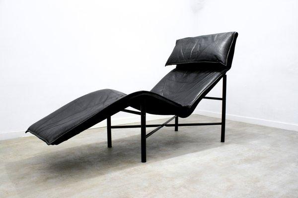 Chaise Longue Skye En Cuir Noir Par Tord Bjorklund Pour Ikea 1980s
