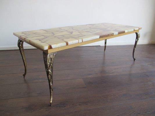 Mid Century Brass, Marble U0026 Resin Coffee Table