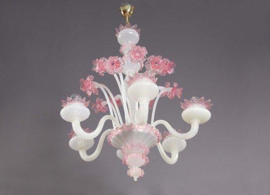 Lampadario Gocce Rosa : Lampadario in vetro soffiato rosa e bianco anni in vendita su