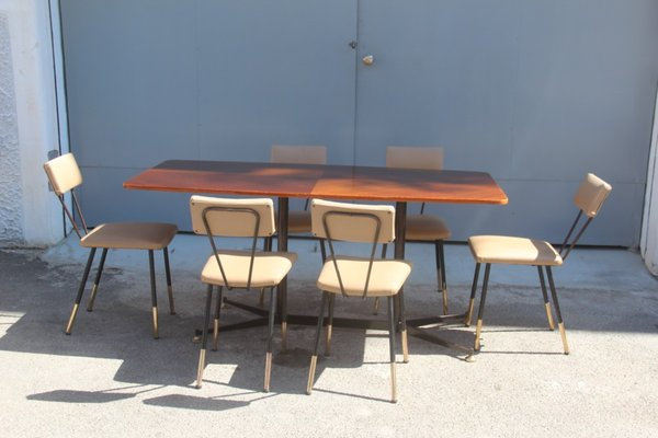Italian Dining Table With Chairs 1950s 1