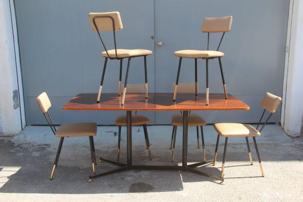 Tavolo da pranzo con sedie, Italia, anni \'50 in vendita su Pamono