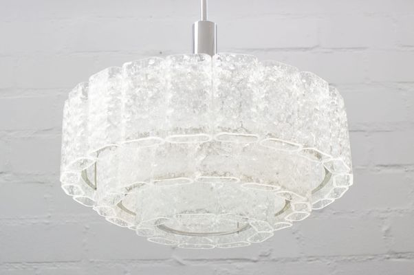 3 tier chandelier crystal large 3tier chandelier with ice glass elements from doria 1960s