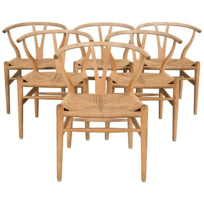 ch 24 oak wishbone chairs by hans wegner for carl hansen søn